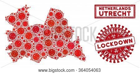Coronavirus Mosaic Utrecht Province Map And Seal Stamps. Red Rounded Lockdown Textured Seal. Vector