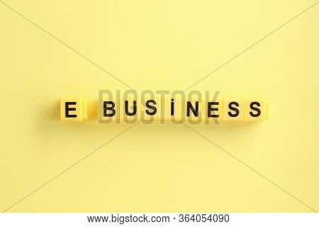 E Business Creative Concept, Yellow Letters On A Yellow Background