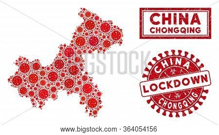 Coronavirus Collage Chongqing City Map And Rubber Prints. Red Rounded Lockdown Grunge Seal Stamp. Ve