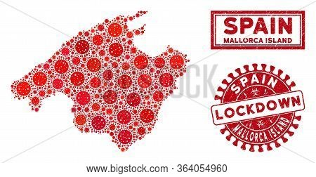 Covid-2019 Virus Collage Spain Mallorca Island Map And Seal Stamps. Red Round Lockdown Grunge Seal S