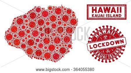 Flu Virus Collage Kauai Island Map And Seal Stamps. Red Round Lockdown Scratched Seal Stamp. Vector