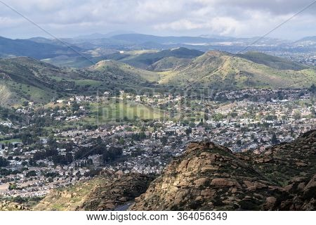 Morning mountaintop view of suburban Simi Valley near Los Angeles in Southern California.
