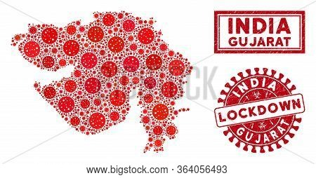 Coronavirus Collage Gujarat State Map And Rubber Prints. Red Rounded Lockdown Distress Seal Stamp. V