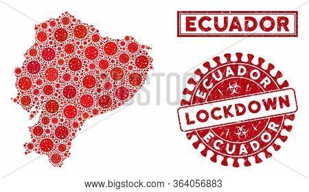 Covid-2019 Virus Collage Ecuador Map And Rubber Prints. Red Round Lockdown Distress Watermark. Vecto