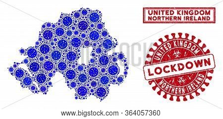Coronavirus Mosaic Northern Ireland Map And Rubber Prints. Red Rounded Lockdown Textured Stamp. Vect