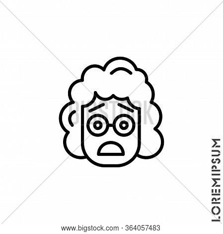 Frowning With Open Mouth Emoji Outline Vector Girl, Woman Icon With Raised Eyebrows. Thin Line Black