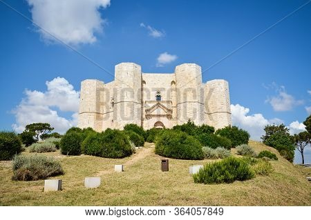 Panoramic View Of Castel Del Monte, Puglia. Italy. Castel Del Monte Is A 13th Century Castle Situate