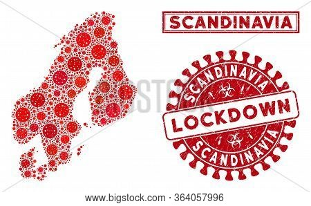 Coronavirus Collage Scandinavia Map And Seal Stamps. Red Rounded Lockdown Scratched Seal. Vector Cov