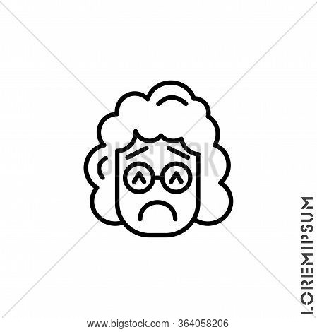 Sad And In A Bad Mood Emoticon Girl, Woman Icon Vector Illustration. Outline Style. Depressed, Sad,