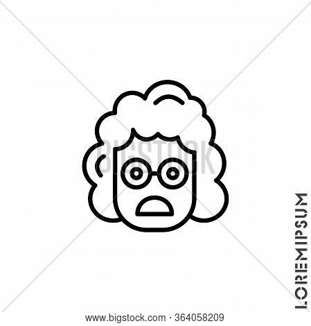Frowning With Open Mouth Girl, Woman Emoji Outline Vector Icon. Thin Line Black Frowning With Open M