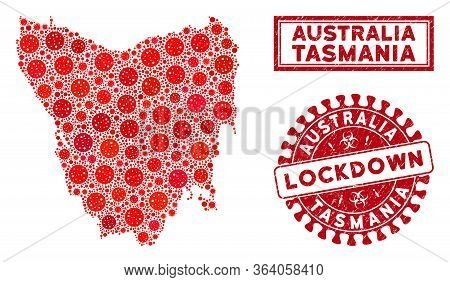 Flu Virus Mosaic Tasmania Island Map And Watermarks. Red Rounded Lockdown Grunge Watermark. Vector C