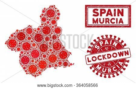 Coronavirus Mosaic Murcia Province Map And Watermarks. Red Rounded Lockdown Scratched Watermark. Vec