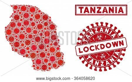Coronavirus Collage Tanzania Map And Seals. Red Round Lockdown Scratched Seal Stamp. Vector Covid Pa