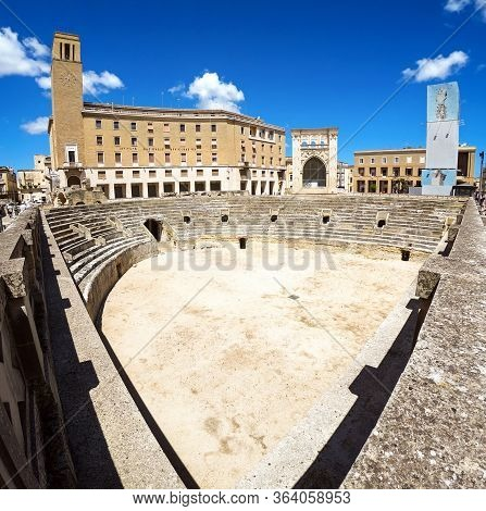 Panoramic View Of The Majestic Roman Amphitheater Of Lecce Built During The Augustan Age (i, Ii Cent