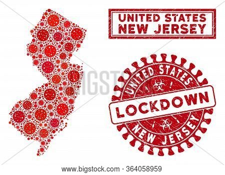 Coronavirus Collage New Jersey State Map And Stamps. Red Rounded Lockdown Distress Seal. Vector Coro