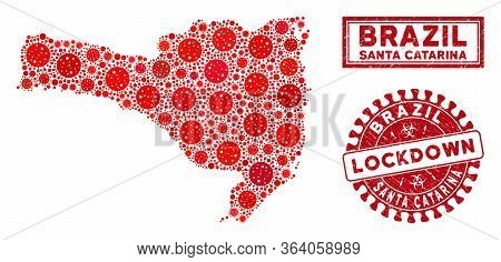 Covid-2019 Virus Mosaic Santa Catarina State Map And Watermarks. Red Round Lockdown Scratched Stamp.