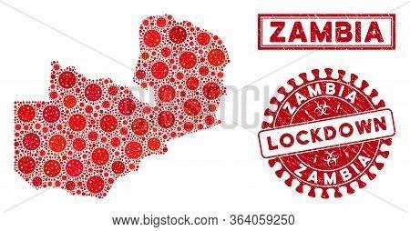 Coronavirus Collage Zambia Map And Watermarks. Red Round Lockdown Textured Watermark. Vector Coronav