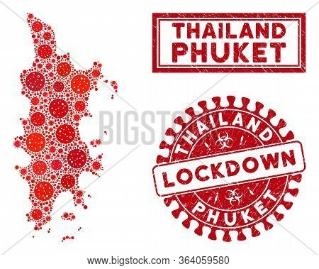Covid-2019 Virus Collage Phuket Map And Seal Stamps. Red Round Lockdown Grunge Seal. Vector Coronavi