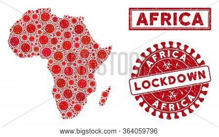 Coronavirus Mosaic Africa Map And Watermarks. Red Rounded Lockdown Distress Seal. Vector Covid Infec