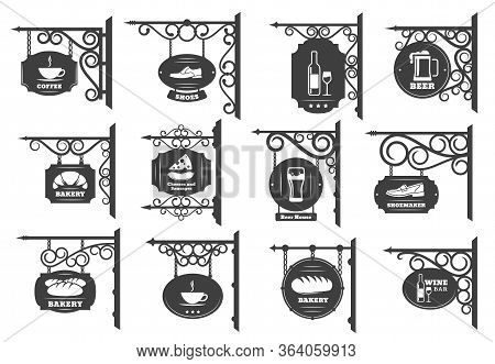 Vintage Street Signboards Vector Design. Iron Shop Sign Boards Hanging On Wrought Metal Brackets And
