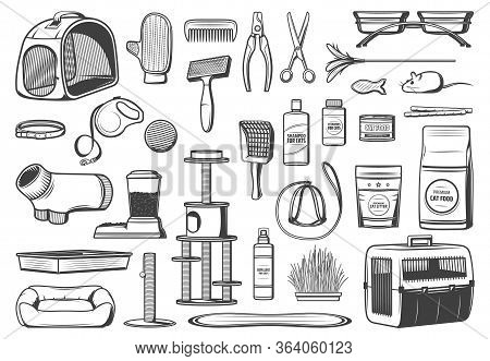 Pet Care Supplies For Cats Isolated Vector Icons. Food, Grooming Brush And Glove Accessories, Toys,