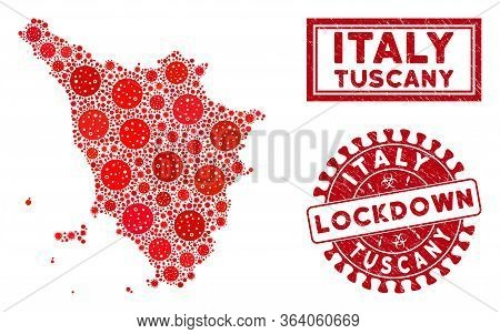 Covid-2019 Virus Mosaic Tuscany Region Map And Rubber Prints. Red Rounded Lockdown Scratched Seal. V