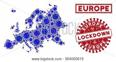 Flu Virus Collage Europe Map And Seals. Red Rounded Lockdown Textured Stamp. Vector Coronavirus Path