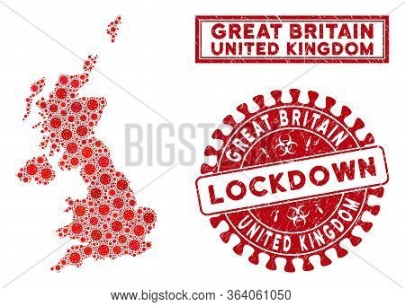 Coronavirus Collage United Kingdom Map And Rubber Prints. Red Rounded Lockdown Textured Seal. Vector