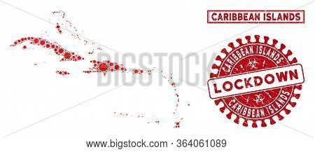 Coronavirus Collage Caribbean Islands Map And Seals. Red Rounded Lockdown Scratched Seal Stamp. Vect