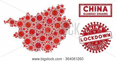 Flu Virus Collage Guangxi Zhuang Region Map And Seal Stamps. Red Rounded Lockdown Textured Seal Stam