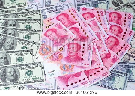 Varites Dollar Money,the Usa Banknote ,and Yuan Banknote ,chinese Banknote  Lay Spread Double.