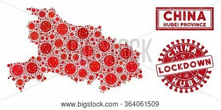 Coronavirus Collage Hubei Province Map And Rubber Prints. Red Round Lockdown Distress Seal Stamp. Ve