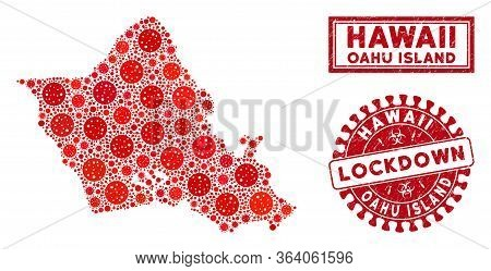 Covid-2019 Virus Collage Oahu Island Map And Stamps. Red Rounded Lockdown Distress Watermark. Vector
