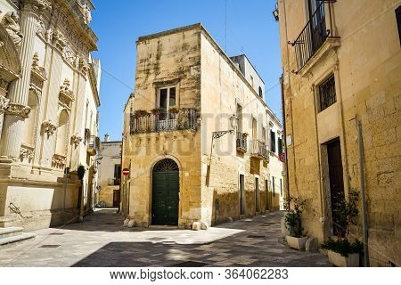 The Ancient City Center Of Lecce With Its Narrow Streets. Puglia. Italy