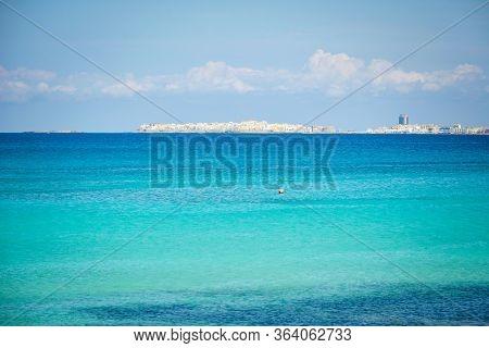 Gallipoli From The Sea, Famous Salento City On The Mediterranean Sea. Puglia, Italy
