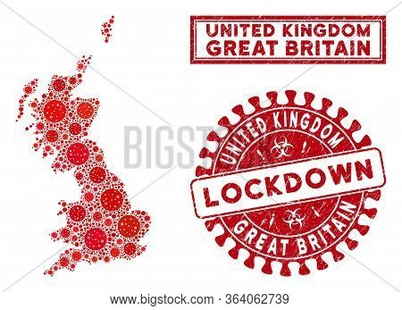 Coronavirus Collage Great Britain Map And Watermarks. Red Rounded Lockdown Scratched Seal. Vector Co