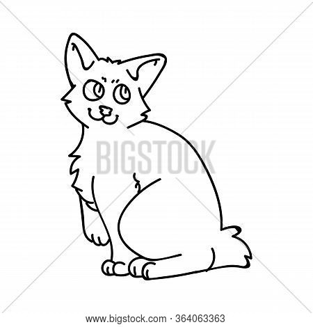 Cute Cartoon Monochrome Japanese Bobtail Kitten Vector Lineart Clipart. Pedigree Kitty Breed For Cat