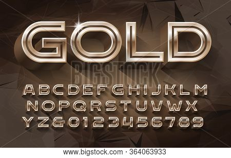 Gold Alphabet Font. 3d Golden Letters And Numbers. Abstract Background. Stock Vector Typescript For