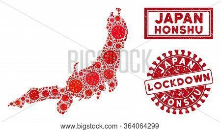Coronavirus Collage Honshu Island Map And Seals. Red Round Lockdown Textured Seal Stamp. Vector Coro