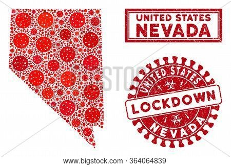 Flu Virus Collage Nevada State Map And Stamps. Red Round Lockdown Scratched Seal. Vector Covid Infec