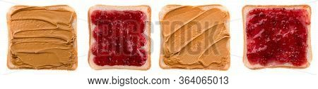 Set Peanut Butter And Jelly Sandwich On Bread Slices Isolated, Collection Toast With Butter Peanut A