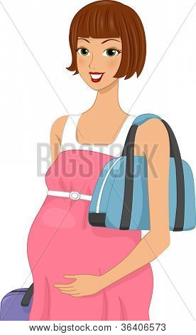 Illustration of a Pregnant Woman Carrying Traveling Bags