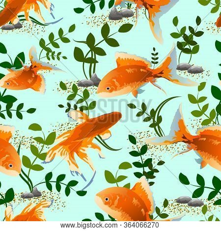 Goldfish And Algae In The Pattern.pattern Of Goldfish And Algae On A Colored Background.