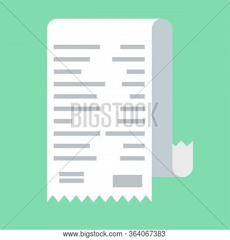Receipt Icon In A Flat Style Isolated On A Colored Background. Concept Paper Receipts Icons. Design