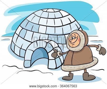 Cartoon Illustration Of Funny Eskimo Or Lapp Man With His Igloo House