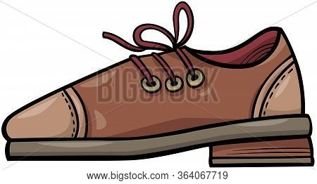 Cartoon Illustration Of Shoe Leather Object Clip Art