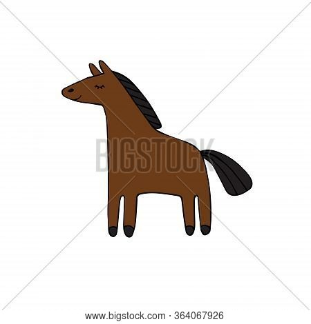 Vector Hand Drawn Doodle Sketch Bay Brown Horse Isolated On White Background