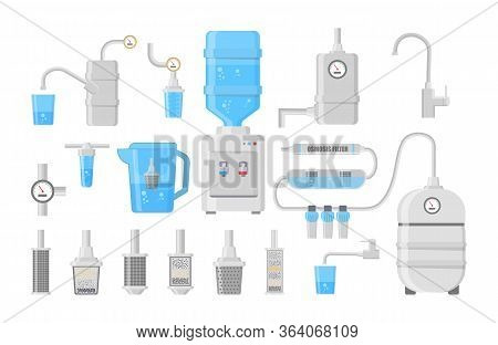 Flat Icons Of Water Filter Isolated On White Background. Set Of Different Kinds Of Water Filters And