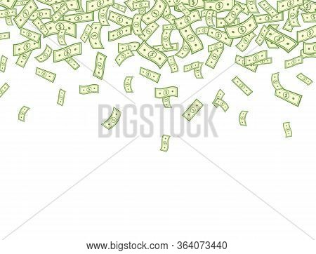 Dollar Falling On White Background. Banknotes Icon Explosion. Paper Bank Notes Frame. Money In A Fla