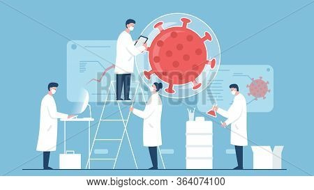 Vector Concept Illustration Of A Team Of Scientists Working On Coronavirus Vaccine In The Laboratory
